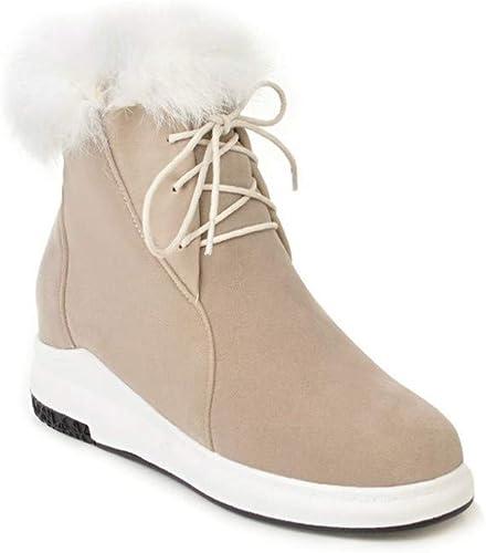Fuxitoggo Stiefel de Nieve  Fondos Gruesos Stiefel de algodón Impermeables de Tubo Corto Stiefel de Nieve cálidas de Invierno 34-43 (Farbe   Buff, tamaño   36)