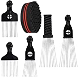 Homgaty 5PCS Afro Pick Comb with 1 Hair Twist Sponge Brush, African American Comb Metal Teeth Hairdressing Styling Tools for Hair Styling Coloring Curling Dyeing