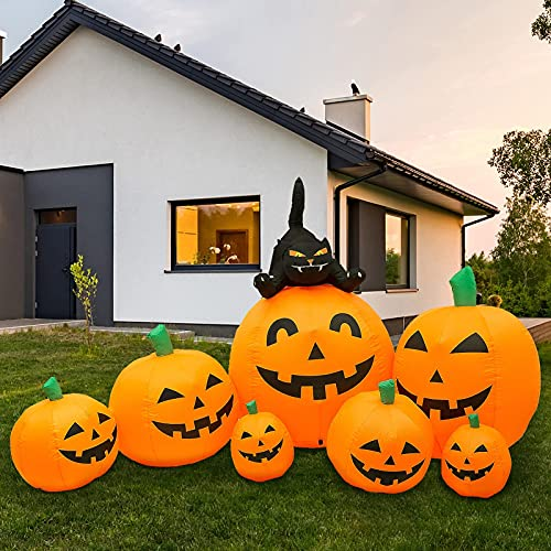 HBlife 7.7 FT Halloween Decorations Inflatable Pumpkin, Blow Up Animated Witch's Cat Pumpkin with Build-in LEDs, Outdoor Inflatable Decoration for Front Yard, Porch, Lawm or Halloween Party Indoor