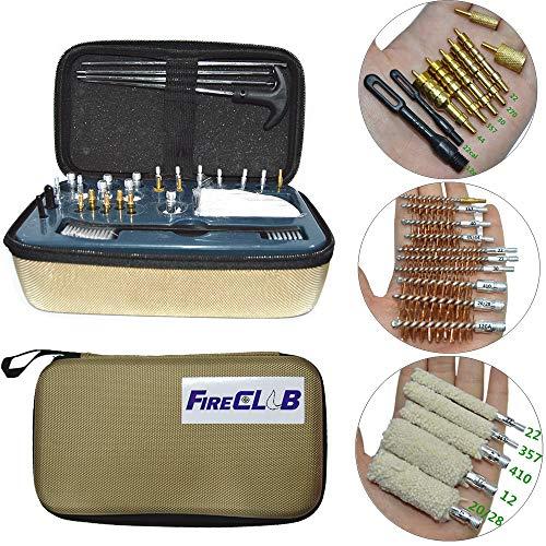FIRECLUB 30 piezas Kit de limpieza de caza para todos los calibres Pistola de pistolas 12GA 20 28 410 27 22 357 38 9 mm 40 44 45 .17 juego de herramientas de cepillo de barril