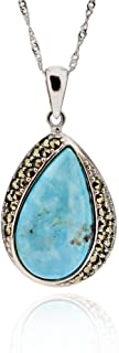 Sterling Silver Pear Blue Kingman Turquoise & Marcasite Pendant Necklace 17