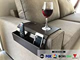 Sofa Arm Tray Table. Remote Control and Cellphone Organizer Holder, Arm Rest Organizer, Arm Rest Table with Pockets. Fits Over Square Chair arms. (Tobacco/Dark Brown)
