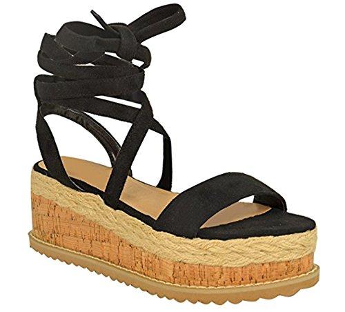 Fashion Thirsty Damen Espadrille-Sandalen mit Keilabsatz & Schnürung - Kork-Plateausohle - Schwarz Veloursleder-Imitat - EUR 38