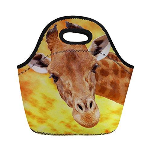 Nopersonality Petit sac à déjeuner avec tête de girafe pour hommes, femmes, adultes, enfants, filles, garçons