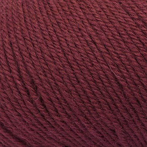 ggh Wollywasch, Farbe:188 - Weinrot, 100% Schurwolle, 50g Wolle als Knäuel, Lauflänge ca.125m, Verbrauch 550g, Nadelstärke 3-4, Wolle zum Stricken und Häkeln