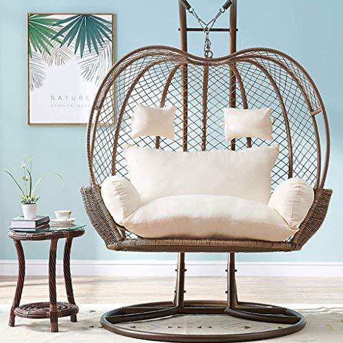 Yuany Doppelte Ei Hängematte Stuhlpolster, Schaukelstuhl Kissenpolster für Indoor Outdoor Garten Hängekorb Stuhl, 110x150cm (Farbe: Weiß)(KEIN Stuhl)