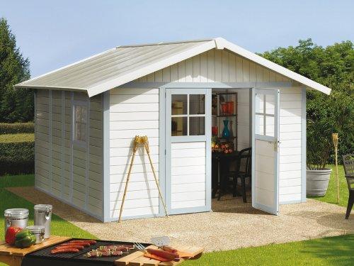 #Kunststoff-Gartenhaus Deco H11 grau/grün/weiß, 315×355 cm#