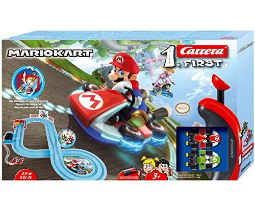 Carrera FIRST Nintendo Mario Kart™ Rennstrecken-Set I 2,9m elektrische Rennbahn mit Streckenteilen und Handregler im Maßstab 1:50 I für bis zu 2 Spieler I für Kinder ab 3 Jahren & Erwachsene