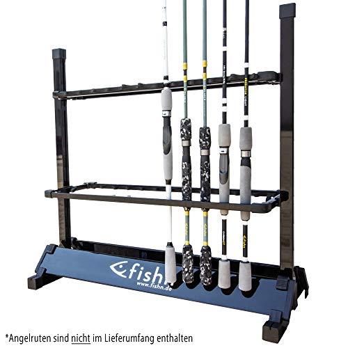 FISHN® Rutenständer für 24 Angelruten aus hochwertigem Aluminium, Rutenhalter, Angelrutenhalter - 72 x 70 x 30 cm (Black)