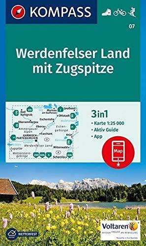 Werdenfelser Land mit Zugspitze: 3in1 Wanderkarte 1:25000 mit Aktiv Guide inklusive Karte zur offline Verwendung in der KOMPASS-App. Fahrradfahren. Langlaufen. (KOMPASS-Wanderkarten, Band 7)