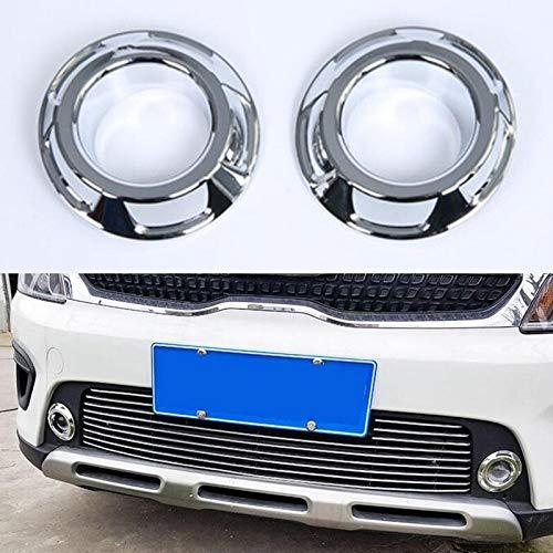 Decoración de la lámpara 2pcs frente del coche de la luz de niebla exterior anillo de la moldura Styling cubiertas en forma for KIA KX CRUZ 2017 nuevos accesorios del ABS ( Color : Bright Silver )