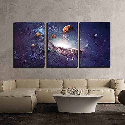 """wall26 - 3 Piece Canvas Wall Art - High Resolution Images Presents Creating Planets of the Solar System. - Modern Home Decor Stretched and Framed Ready to Hang - 16""""x24""""x3 Panels"""