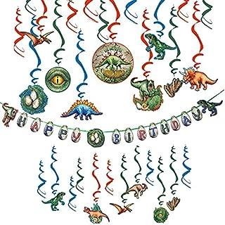 Easy Joy Decoration Anniversaire Enfant Dinosaure Kit Tourbillon Suspendu Deco + Happy Birthday Dinosaure Banner pour Bebe...