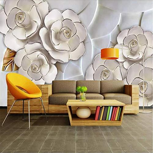 Fototapete Wandbild Hintergrund 3d Tapetenpapel de parede Benutzerdefinierte Tapete 3d geprägte weiße Blumen Wohnzimmer TV Hintergrund 3d Tapete dekorative Malerei-Über 150 * 105 cm