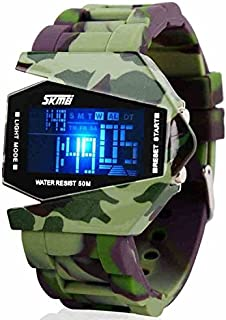 LED Military Cool Water Resist Noctilucent Plane Design Digital Watch for Children Size S