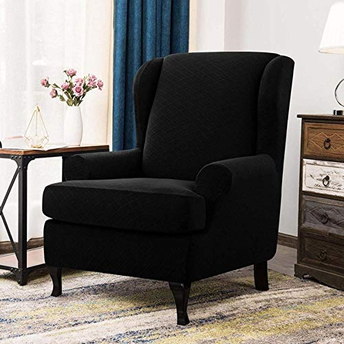 LLAAIT Jacquard Elastic Armchair Cover Wingback All-Inclusive Sloping Arm King Back Chair Cover Tiger Bench Wing Sofa Back Chair Covers