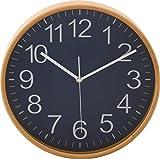 不二貿易プライウッド掛時計 Φ28cm NV ネイビー 85369 1個 不二貿易