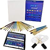 XXL Oil Paint Set - 24 Paints, 25 Brushes, 1 Canvas, and Art Palette - Oil...