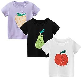 CesAnnees Toddler Little Girls Tees Cotton Unicorn T-Shirts Short Sleeve Casual T Shirt Tunic Tops 3 Pack