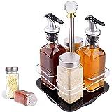 SaiXuan Dispensador de aceite,4 pièces,Set de Aceite y Vinagre,Set de Sal y Pimienta,Vinagreras con Soporte,acero inoxidable y vidrio