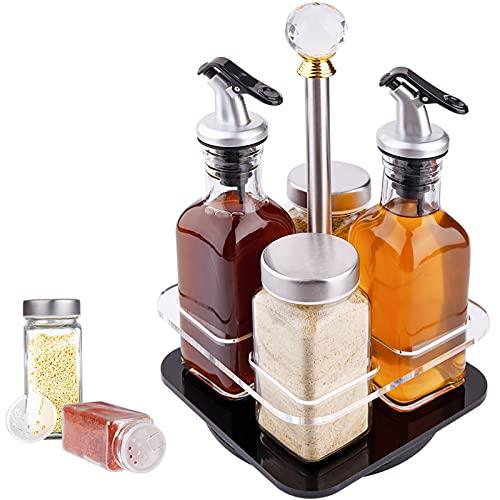 SaiXuan Bottiglie di Olio,4 Pezzi Dosatore di Olio d'oliva in Acciaio Inossidabile e Bicchiere,per Olio e aceto,Sale e Pepe