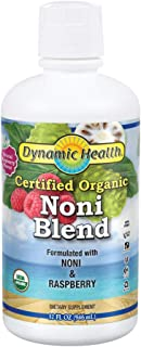 Dynamic Health Certified Organic Noni (Morinda citrifolia) Blend W/ Raspberry | For Increased Energy & Body Health | No Additives, Vegetarian |32oz