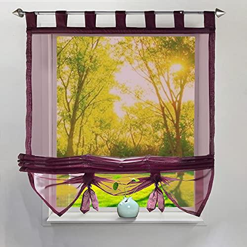 i@HOME Voile Raffrollo 60x155cm Raffrollo ohne Bohren Raffgardine mit Schlaufen Fenstervorhang Scheibengardinen Rollos Schlaufen Transparent Vorhang für Fenster