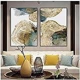 Cuadro en lienzo Textura de hoja y tronco Cartel abstracto Imagen nórdica Decoración moderna de la sala Arte de la pared Pintura 60x90cm (23.6'x35.4') x2 Sin marco