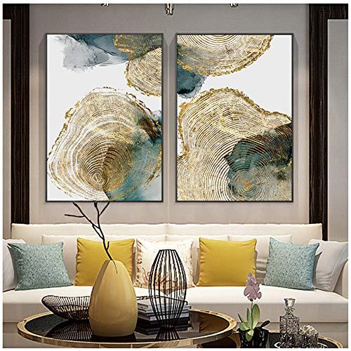 """Cuadro en lienzo Textura de hoja y tronco Cartel abstracto Imagen nórdica Decoración moderna de la sala Arte de la pared Pintura 60x90cm (23.6""""x35.4"""") x2 Sin marco"""