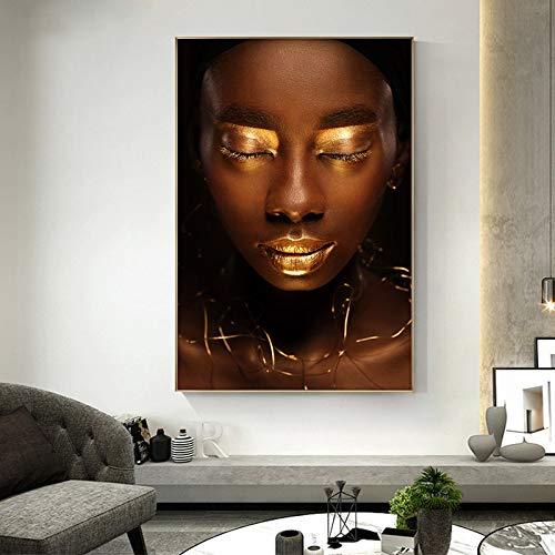 Puzzle 1000 Piezas Retrato de Arte Africano Negro Desnudo con Labios Dorados Puzzle 1000 Piezas educa Gran Ocio vacacional, Juegos interactivos familiares50x75cm(20x30inch)