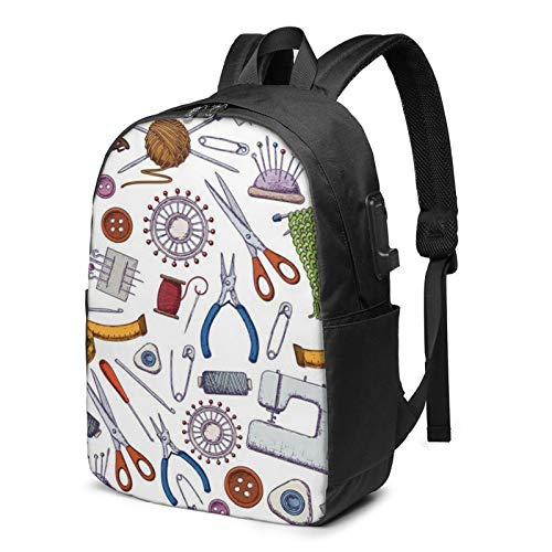 Laptop Backpack with USB Port Tools Needlework, Business Travel Bag, College School Computer Rucksack Bag for Men Women 17 Inch Laptop Notebook
