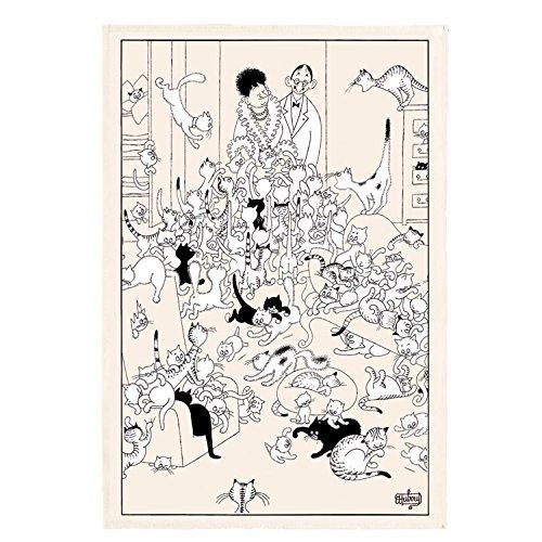Winkler - Torchon Dubout retour de soirée – 48×72 cm - 100% coton absorbant - Made in France - Serviette à vaisselle, chiffon de nettoyage - Dessin humoristique