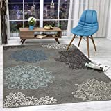 Antep Rugs Alfombras Modern Floral 5x7 Non-Skid (Non-Slip) Low Profile Pile Rubber Backing Indoor Area Rugs (Gray, 5' x 7')