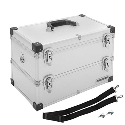 anndoraWerkzeugkoffer Etagenkoffer 2 Etagen 22 Liter Silber