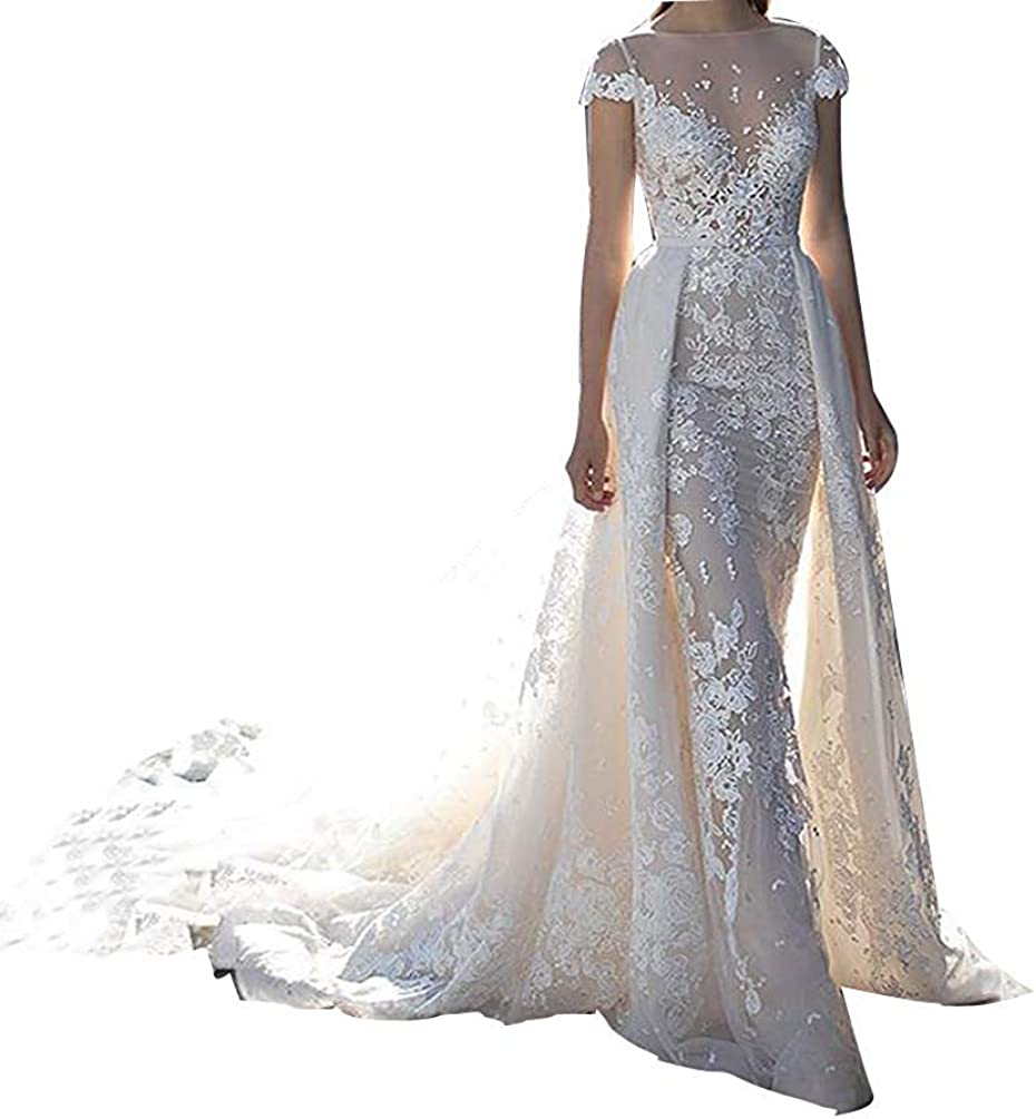 Women's Illusion Short Sleeves Lace Beach Mermaid Wedding Dresses for Bride with Detachable Train Bridal Ball Gowns