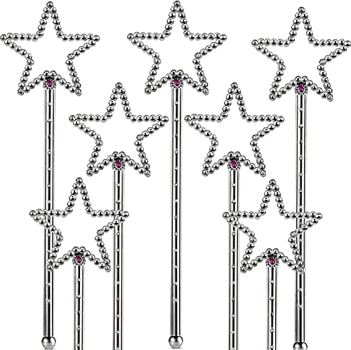 The Dreidel Company Princess Star Wand, with Pink Crystal, Perfect for You Dress-Up Party Costume Accessory, 8' Long, 12-Pack