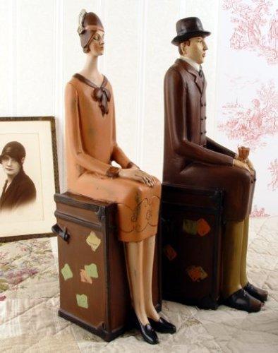 Buchstützen Art Deco Figuren Mann Frau Dekofiguren Vintage Antik Shabby TVC016 Palazzo Exklusiv
