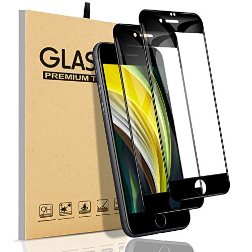 【2枚入り・最新改良】iPhone SE 第2世代(2020)ガラスフィルム 全面保護フィルム【フルカバー】 業界最高の硬度9H·3D曲線エッジ·高い光透過率·指紋防止·防油汚れ·飛散防止·気泡防止 アイフォン SE 二世代 液晶強化ガラス(ブラック)