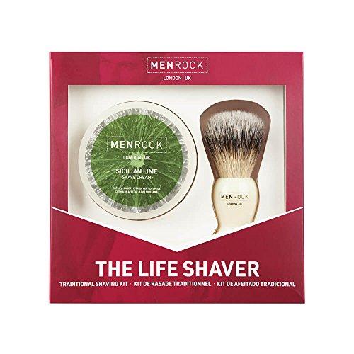 Men Rock Shaving Cream and Brush Kit - Sicilian Lime Shave Cream Packed...