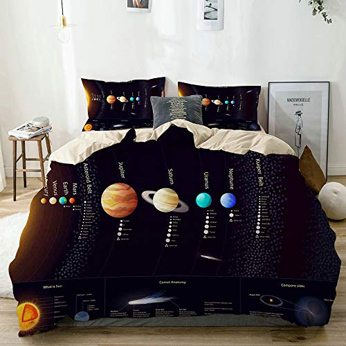 QYUESHANG Bedding Juego de Funda de Edredón,Sistema Solar Detallado con Información Científica Telescopio Universo Júpiter Saturno,Funda de Nórdico y 2 Fundas de Almohada Super King