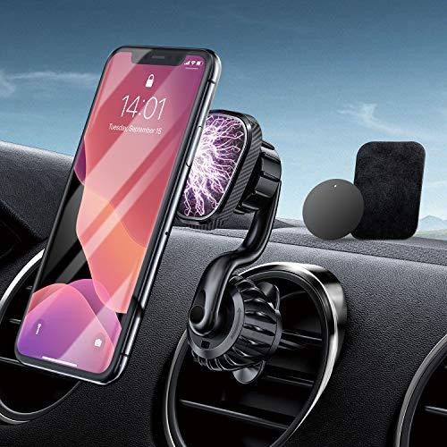 RTAKO Handyhalterung Auto Magnet Lüftung Handy Halterung für Auto Magnet KFZ Handyhalterung mit 6 Magnete handyhalter Auto 360°Drehbar Universal für Samsung und Smartphone GPS-Gerät