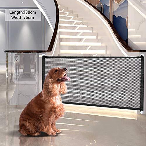 Magic Gate für Hunde, Tragbar Hunde Türschutzgitter, Magic Gate Faltbar, Faltbar Hundebarriere Tür, Absperrgitter Hund, Treppenschutzgitter Hundeschutzgitter Absperrgitter für Hundebarrieren, Haustier