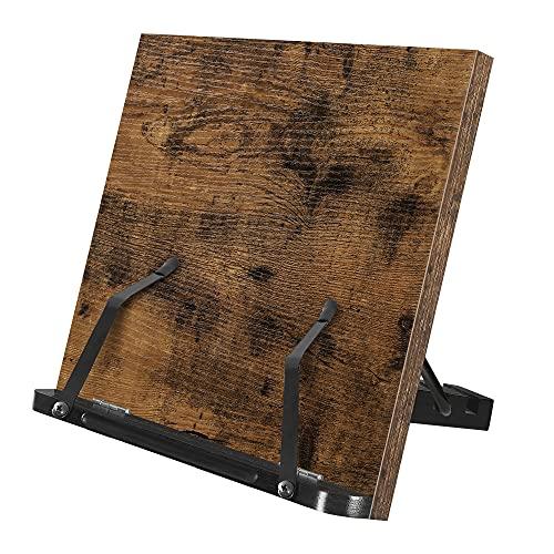 SONGMICS Buchständer, Leseständer, Kochbuchhalter, faltbar, mit Seitenhalter, 5-stufig verstellbar, für Bücher, Rezepte, Tablet, vintagebraun LLD112B01