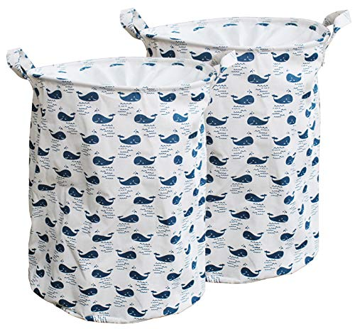 HOMEDECISION Cotton Fabric Collapsible Laundry Basket Dirty Clothes Hamper -Small whale 2-Pack