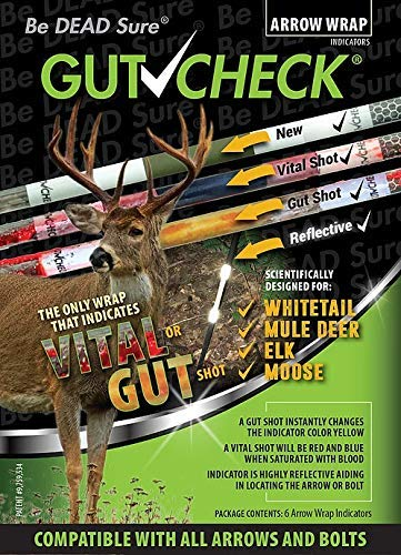Gut Check Arrow Wraps 4 inch - Indicates Vital & Gut Shots. Use for Deer, Hog, Bear, Turkey. Highly Reflective 6-Pack