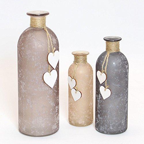 Frank Flechtwaren - Vaso decorativo con cuori, set da 3 pezzi