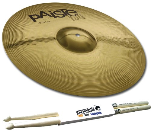 PAISTE 101 Brass 18' Crash Ride Becken + 5A keepdrum Drumsticks