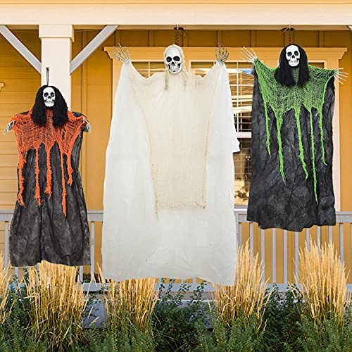 Yoleshy Halloween Hanging Grim Reapers 3 Pack Hanging Halloween Ghost with Bendable Arms, Hanging Skeletons for…