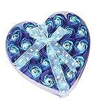 24 piezas de rosa perfumada pétalo de la flor del baño del cuerpo del jabón del regalo del banquete de boda Día de San Valentín, Cumpleaños Regalo ect (Azul)