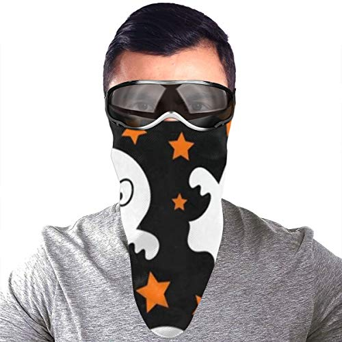 Half Bavaclava Face Mask Triangle Wind Dust Proof Masks With Filter Magic Tape Strap Full Ears Protection For Women Men Ski Motorcycle Cycling Bicycle -Halloween Cute Spooky White Ghost Orange Star (